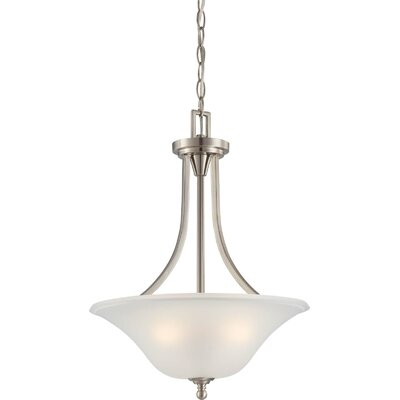 Reynal 3-Light Inverted Pendant Finish / Shade Type: Brushed Nickel / Frosted