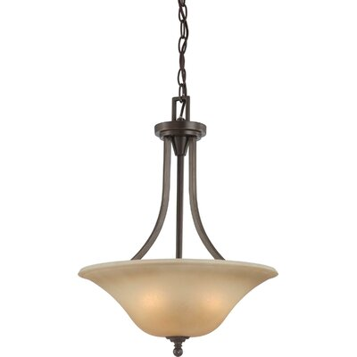 Reynal 3-Light Inverted Pendant Finish / Shade Type: Vintage Bronze / Auburn Beige