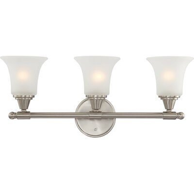 Reynal 3-Light Vanity Light Finish/Shade Color/Bulb: Brushed Nickel / Frosted