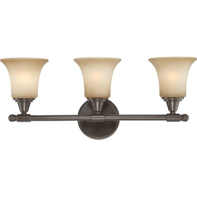 Reynal 3-Light Vanity Light Finish/Shade Color/Bulb: Vintage Bronze / Auburn Beige