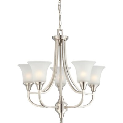 Reynal 5-Light Shaded Chandelier Finish / Shade Type: Brushed Nickel / Frosted