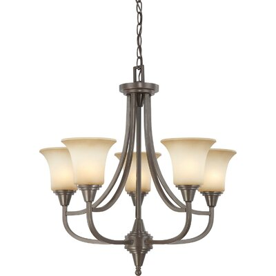 Reynal 5-Light Shaded Chandelier Finish / Shade Type: Vintage Bronze / Auburn Beige