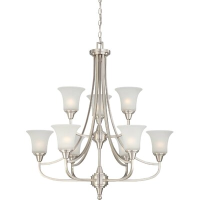 Reynal 9-Light Shaded Chandelier Finish / Shade Type: Brushed Nickel / Frosted
