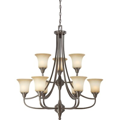 Reynal 9-Light Shaded Chandelier Finish / Shade Type: Vintage Bronze / Auburn Beige