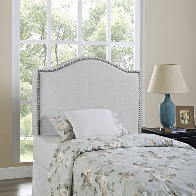 Bransford Curl Upholstered Headboard Size: Twin, Upholstery: Gray