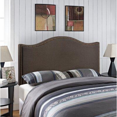 Bransford Curl Upholstered Headboard Size: Queen, Upholstery: Dark Brown