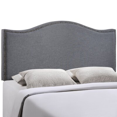 Bransford Curl Upholstered Headboard Size: Queen, Upholstery: Smoke