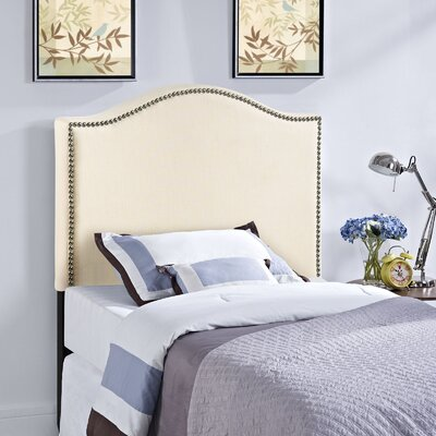 Bransford Curl Upholstered Headboard Size: Twin, Upholstery: Ivory