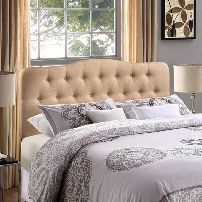 Minneapolis Arch Upholstered Panel Headboard Size: King, Upholstery: Beige