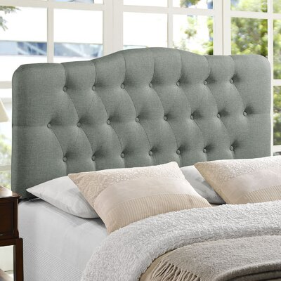 Minneapolis Arch Upholstered Panel Headboard Size: Full, Upholstery: Gray