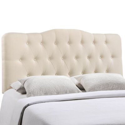 Minneapolis Arch Upholstered Panel Headboard Size: Full, Upholstery: Ivory