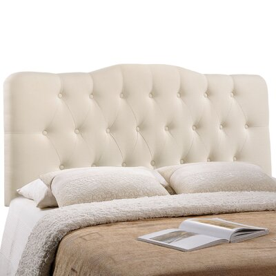 Minneapolis Arch Upholstered Panel Headboard Size: King, Upholstery: Ivory