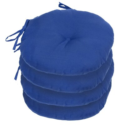Outdoor Round Bistro Dining Chair Cushion Fabric: Marine Blue