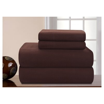 Medaryville Heavy Weight Flannel Solid Sheet Set Size: King, Color: Chocolate
