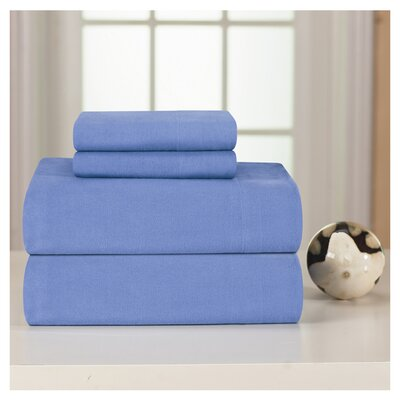 Medaryville Heavy Weight Flannel Solid Sheet Set Size: King, Color: Blue
