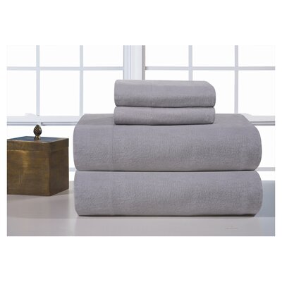 Medaryville Heavy Weight Flannel Solid Sheet Set Size: King, Color: Heather Grey