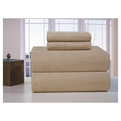 Medaryville Heavy Weight Flannel Solid Sheet Set Size: King, Color: Linen