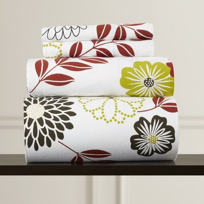 Auburnhill Floral Printed Extra Deep Pocket Flannel Sheet Set Size: Full