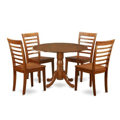 Gloucester 5 Piece Dining Set Upholstery: Saddle Brown