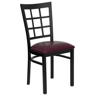 Aletha Window Back Side Chair Upholstery: Burgundy Vinyl