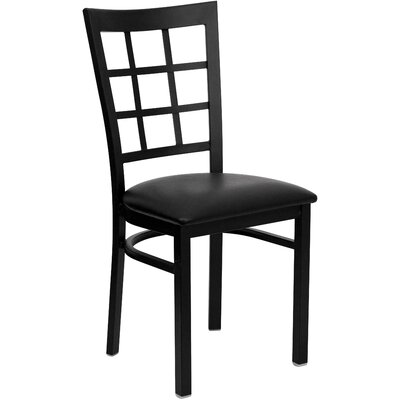 Aletha Window Back Side Chair Upholstery: Black Vinyl
