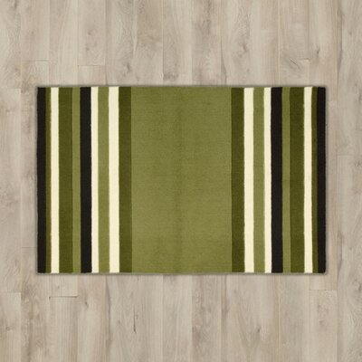 Poquonock Light Green Striped Area Rug