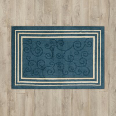 Poquonock Navy Scroll Area Rug