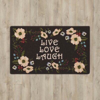 Amberwood Black Live, Love, Laugh Area Rug