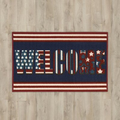 Amberwood Navy Welcome Area Rug