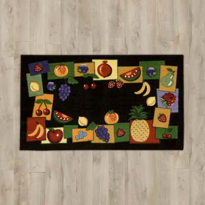 Poquonock Black Fruit Border Area Rug