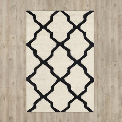Gillam Hand-Tufted Wool Ivory/Black Area Rug Rug Size: Rectangle 2 x 3