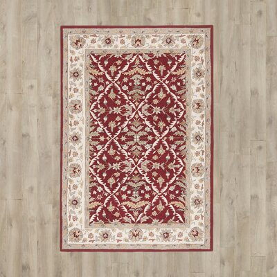 Driffield Hand-Hooked Red / Ivory Area Rug Rug Size: 6 x 9