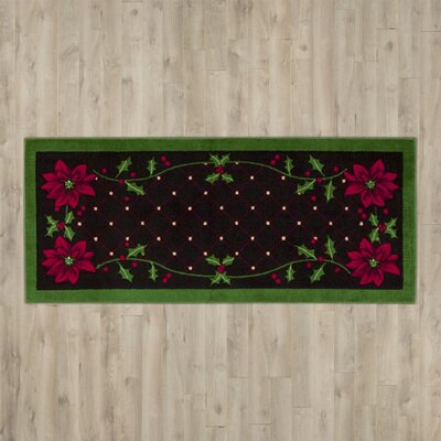 Bilmont Poinsettia Black Area Rug