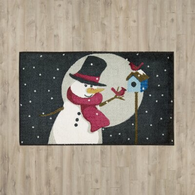 Blackburn Snowman and Bird Black Area Rug