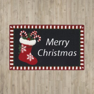 Groveland Christmas Stocking Black Area Rug