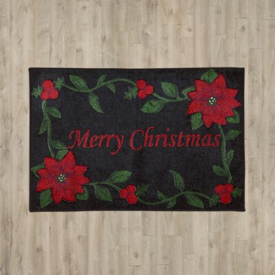 Groveland Merry Christmas Black Area Rug Size: 16 x 26