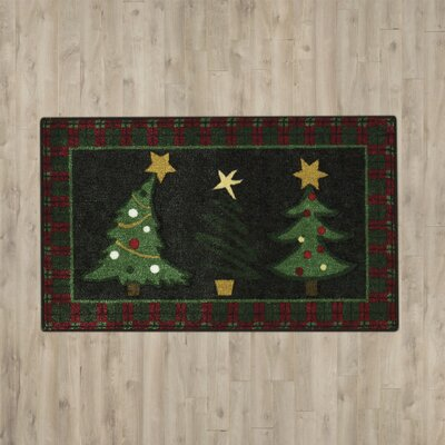 Groveland Christmas Trees Black Area Rug