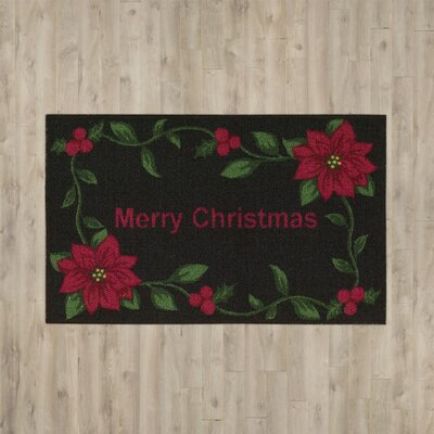 Groveland Merry Christmas Black Area Rug