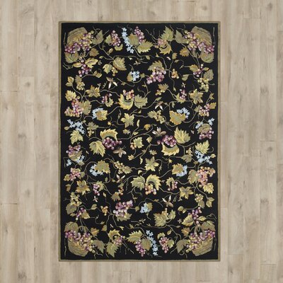 Olson Hand-Hooked Black Area Rug Rug Size: 6 x 9
