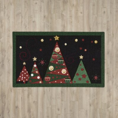 Hanson Christmas Tree Black Area Rug