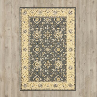 Driffield Hand-Hooked Grey / Cream Area Rug Rug Size: 6 x 9