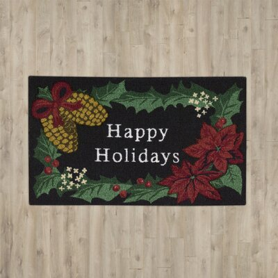 Hanson Happy Holidays Black Area Rug
