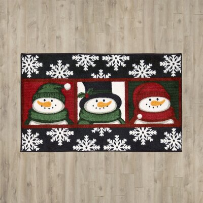 Groveland 3 Snowman Faces Black Area Rug