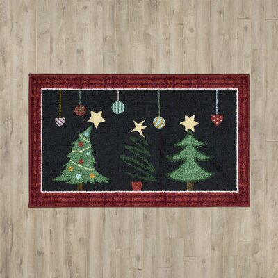 Bethel Happy Holidays Black Area Rug