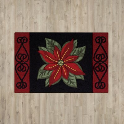 Monahan Poinsettia Black Area Rug