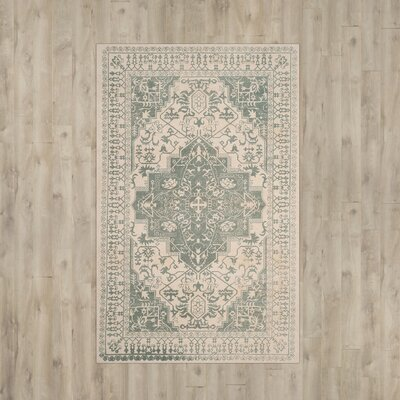 Driffield Hand-Tufted Green/Ivory Area Rug Rug Size: Square 6 x 6