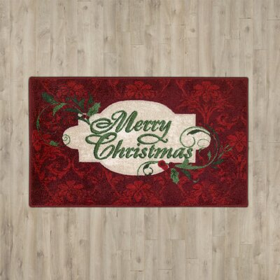 Boutell Merry Christmas Red Area Rug