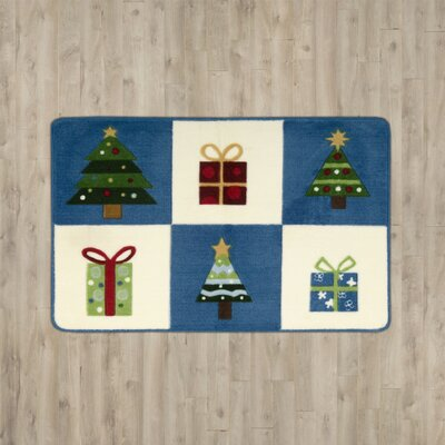 Boutell Trees with Gifts Blue Area Rug