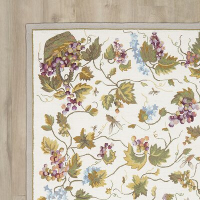 Olson Hand-Hooked White Area Rug