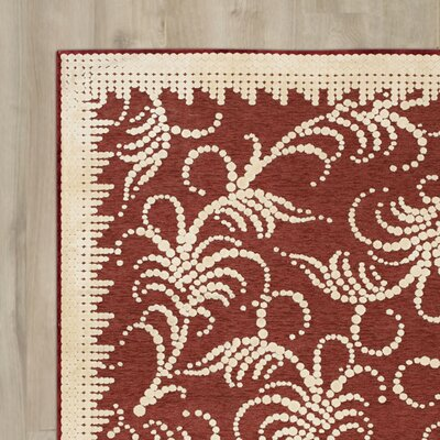 Fountain Swirl Hand-Woven Red/Ivory Area Rug Rug Size: Rectangle 53 x 76